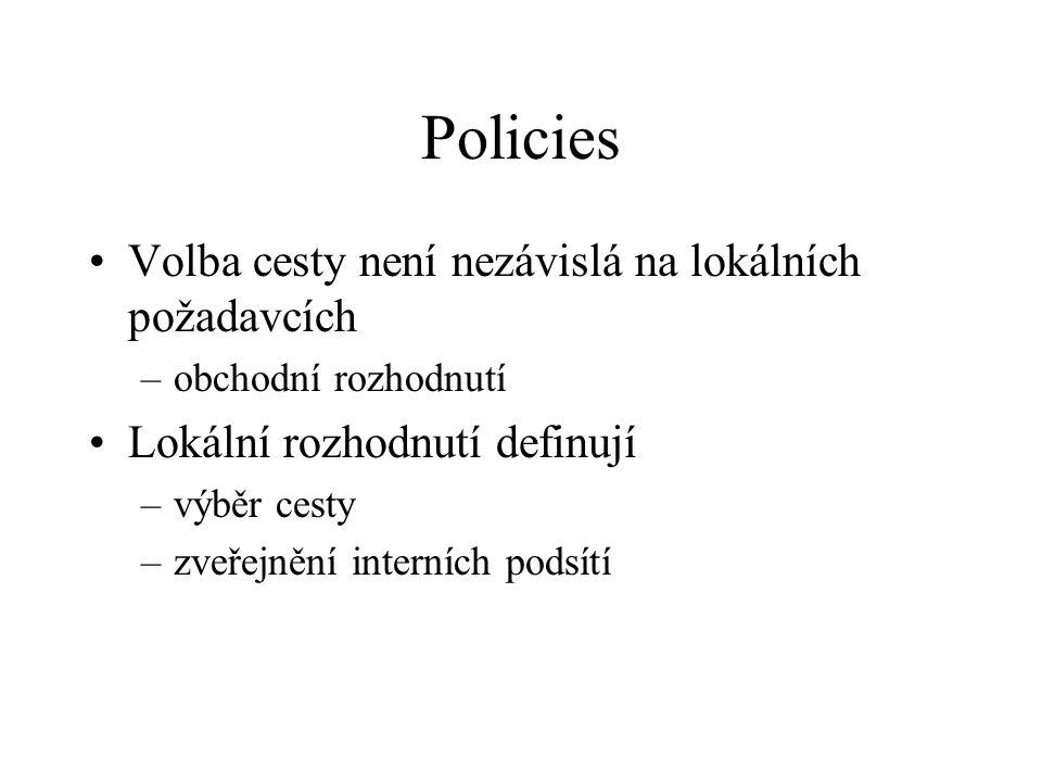 Policies Volba cesty není nezávislá na lokálních požadavcích –obchodní rozhodnutí Lokální rozhodnutí definují –výběr cesty –zveřejnění interních podsítí
