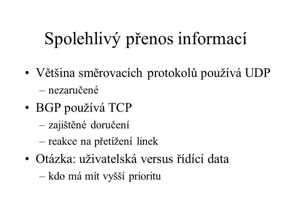 Spolehlivý přenos informací Většina směrovacích protokolů používá UDP –nezaručené BGP používá TCP –zajištěné doručení –reakce na přetížení linek Otázka: uživatelská versus řídící data –kdo má mít vyšší prioritu