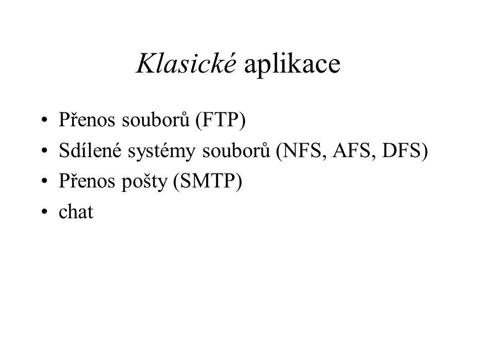 Klasické aplikace Přenos souborů (FTP) Sdílené systémy souborů (NFS, AFS, DFS) Přenos pošty (SMTP) chat