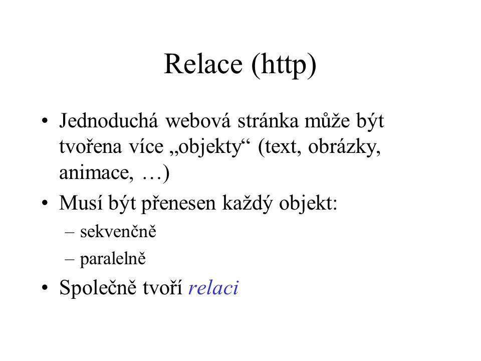 """Relace (http) Jednoduchá webová stránka může být tvořena více """"objekty (text, obrázky, animace, …) Musí být přenesen každý objekt: –sekvenčně –paralelně Společně tvoří relaci"""