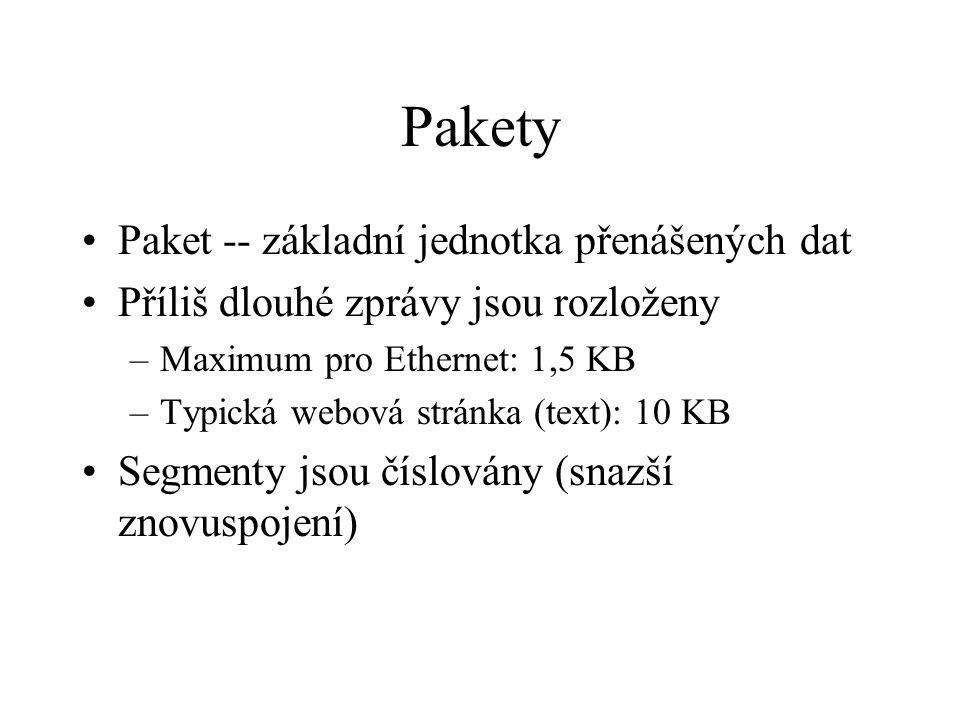 Pakety Paket -- základní jednotka přenášených dat Příliš dlouhé zprávy jsou rozloženy –Maximum pro Ethernet: 1,5 KB –Typická webová stránka (text): 10 KB Segmenty jsou číslovány (snazší znovuspojení)