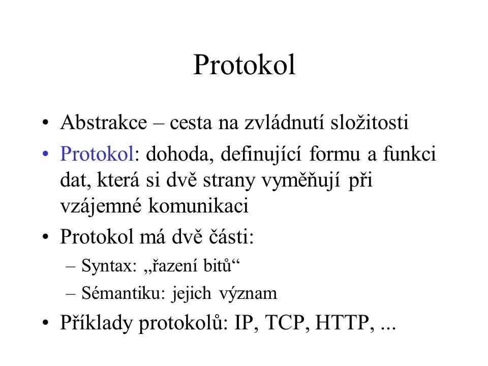 """Protokol Abstrakce – cesta na zvládnutí složitosti Protokol: dohoda, definující formu a funkci dat, která si dvě strany vyměňují při vzájemné komunikaci Protokol má dvě části: –Syntax: """"řazení bitů –Sémantiku: jejich význam Příklady protokolů: IP, TCP, HTTP,..."""