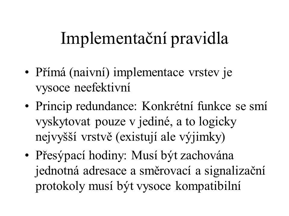 Implementační pravidla Přímá (naivní) implementace vrstev je vysoce neefektivní Princip redundance: Konkrétní funkce se smí vyskytovat pouze v jediné, a to logicky nejvyšší vrstvě (existují ale výjimky) Přesýpací hodiny: Musí být zachována jednotná adresace a směrovací a signalizační protokoly musí být vysoce kompatibilní