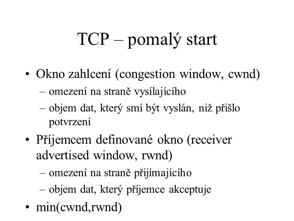TCP – pomalý start Okno zahlcení (congestion window, cwnd) –omezení na straně vysílajícího –objem dat, který smí být vyslán, niž přišlo potvrzení Příjemcem definované okno (receiver advertised window, rwnd) –omezení na straně přijímajícího –objem dat, který příjemce akceptuje min(cwnd,rwnd)