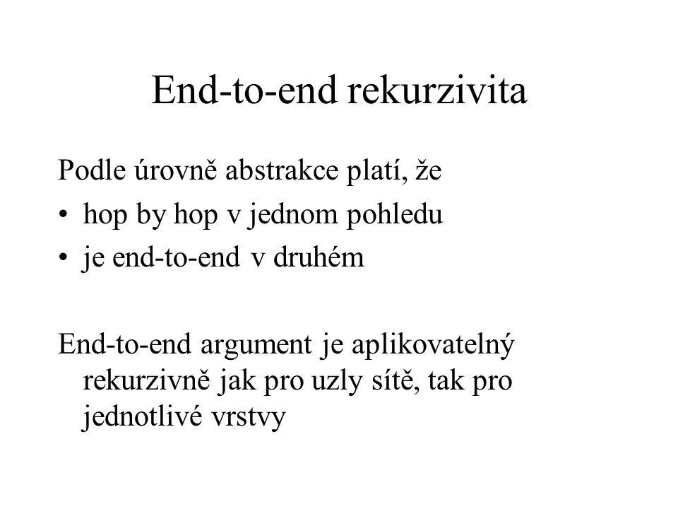 End-to-end rekurzivita Podle úrovně abstrakce platí, že hop by hop v jednom pohledu je end-to-end v druhém End-to-end argument je aplikovatelný rekurz