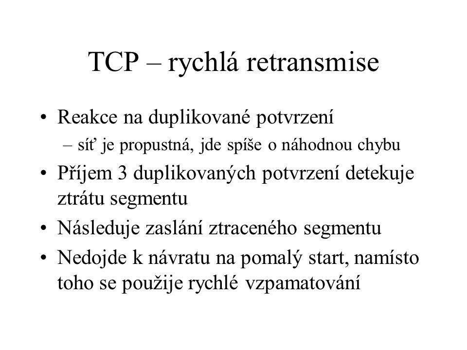 TCP – rychlá retransmise Reakce na duplikované potvrzení –síť je propustná, jde spíše o náhodnou chybu Příjem 3 duplikovaných potvrzení detekuje ztrátu segmentu Následuje zaslání ztraceného segmentu Nedojde k návratu na pomalý start, namísto toho se použije rychlé vzpamatování