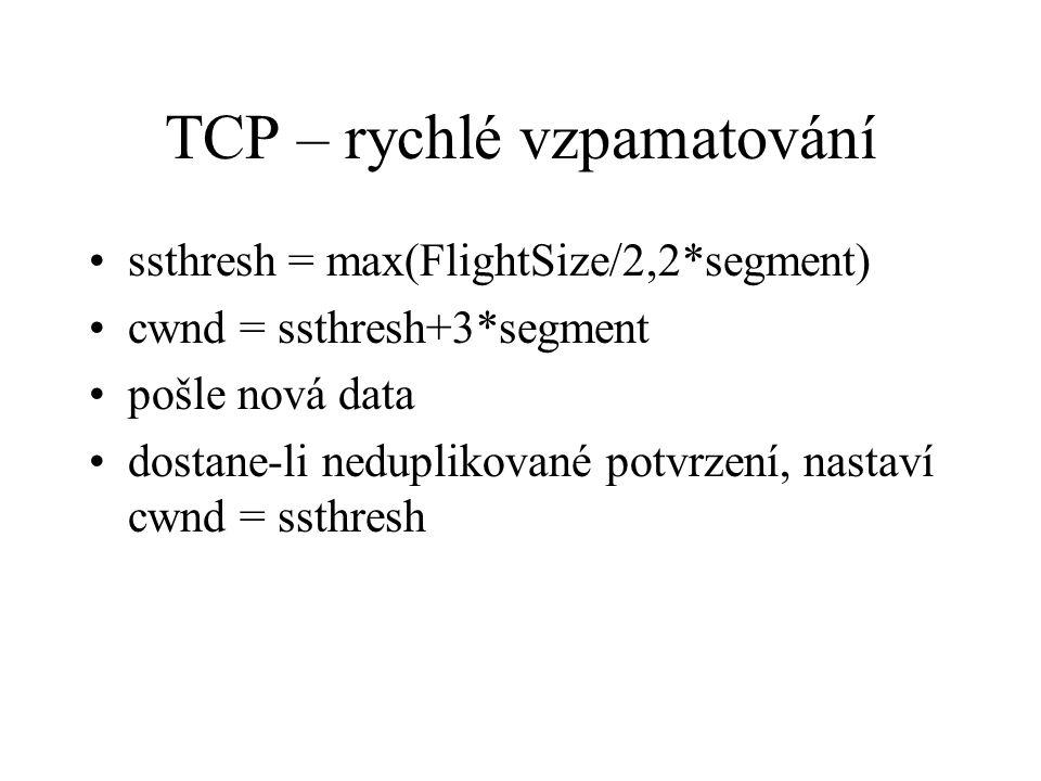 TCP – rychlé vzpamatování ssthresh = max(FlightSize/2,2*segment) cwnd = ssthresh+3*segment pošle nová data dostane-li neduplikované potvrzení, nastaví cwnd = ssthresh