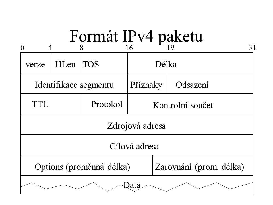 Formát IPv4 paketu verzeHLenTOSDélka Identifikace segmentuPříznakyOdsazení TTLProtokol Kontrolní součet Zdrojová adresa Cílová adresa Options (proměnná délka)Zarovnání (prom.