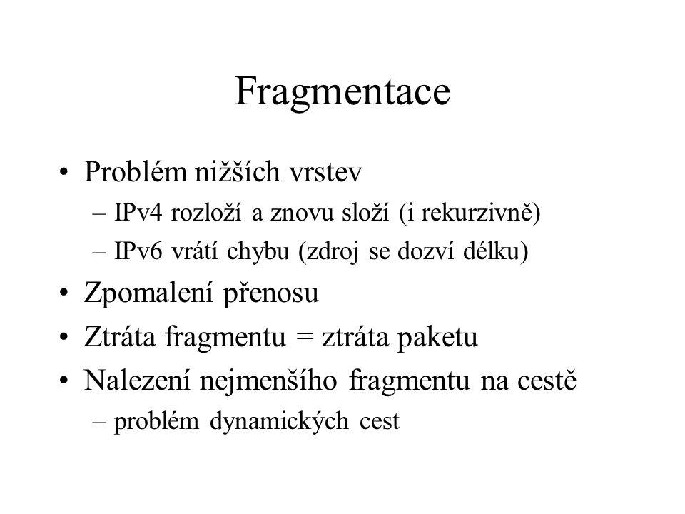 Fragmentace Problém nižších vrstev –IPv4 rozloží a znovu složí (i rekurzivně) –IPv6 vrátí chybu (zdroj se dozví délku) Zpomalení přenosu Ztráta fragmentu = ztráta paketu Nalezení nejmenšího fragmentu na cestě –problém dynamických cest