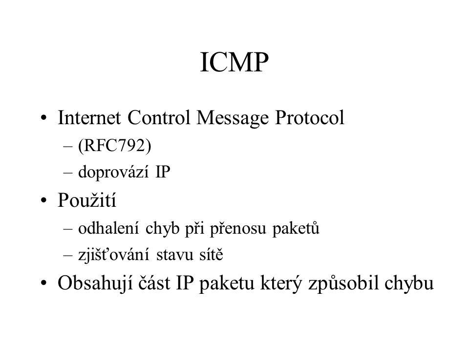ICMP Internet Control Message Protocol –(RFC792) –doprovází IP Použití –odhalení chyb při přenosu paketů –zjišťování stavu sítě Obsahují část IP paketu který způsobil chybu