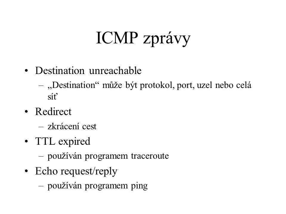 """ICMP zprávy Destination unreachable –""""Destination může být protokol, port, uzel nebo celá síť Redirect –zkrácení cest TTL expired –používán programem traceroute Echo request/reply –používán programem ping"""
