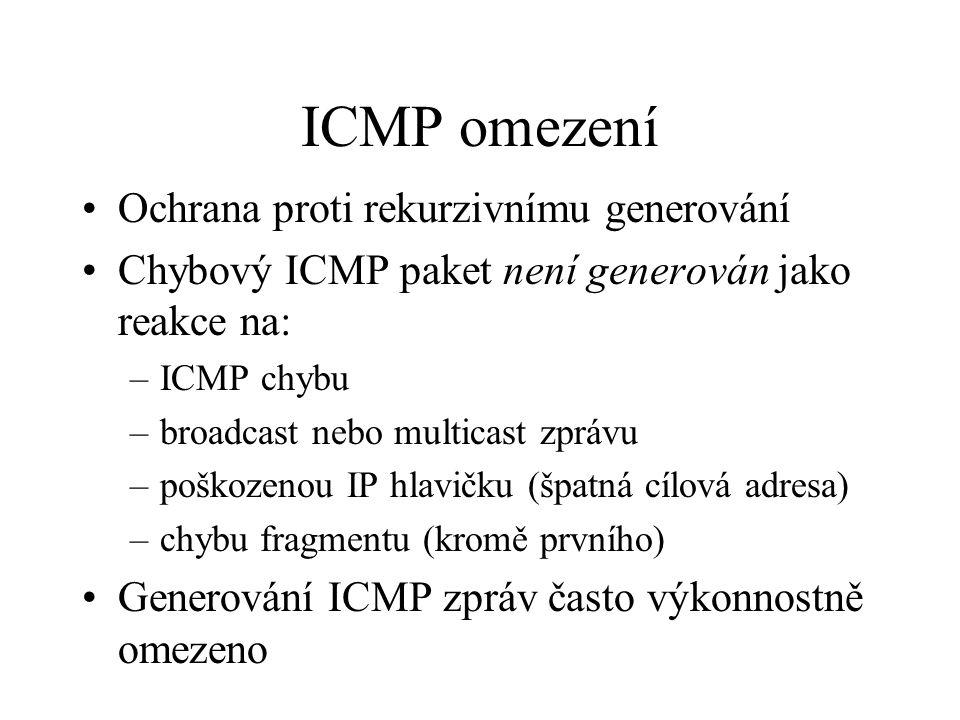 ICMP omezení Ochrana proti rekurzivnímu generování Chybový ICMP paket není generován jako reakce na: –ICMP chybu –broadcast nebo multicast zprávu –poškozenou IP hlavičku (špatná cílová adresa) –chybu fragmentu (kromě prvního) Generování ICMP zpráv často výkonnostně omezeno