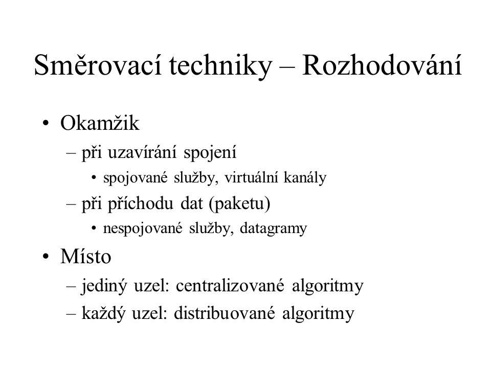 Směrovací techniky – Rozhodování Okamžik –při uzavírání spojení spojované služby, virtuální kanály –při příchodu dat (paketu) nespojované služby, datagramy Místo –jediný uzel: centralizované algoritmy –každý uzel: distribuované algoritmy