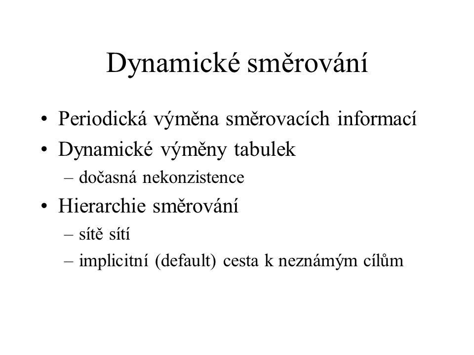 Dynamické směrování Periodická výměna směrovacích informací Dynamické výměny tabulek –dočasná nekonzistence Hierarchie směrování –sítě sítí –implicitní (default) cesta k neznámým cílům