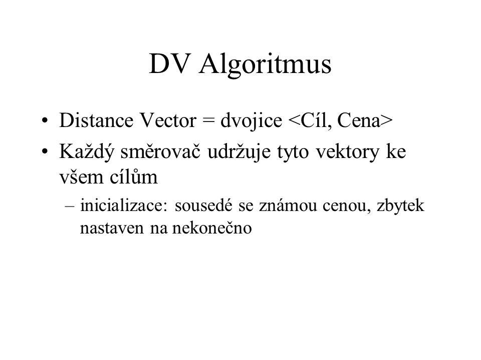 DV Algoritmus Distance Vector = dvojice Každý směrovač udržuje tyto vektory ke všem cílům –inicializace: sousedé se známou cenou, zbytek nastaven na n
