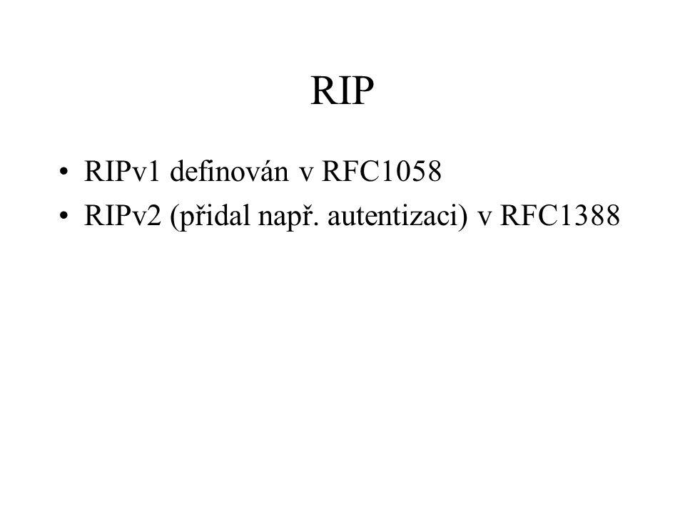 RIP RIPv1 definován v RFC1058 RIPv2 (přidal např. autentizaci) v RFC1388