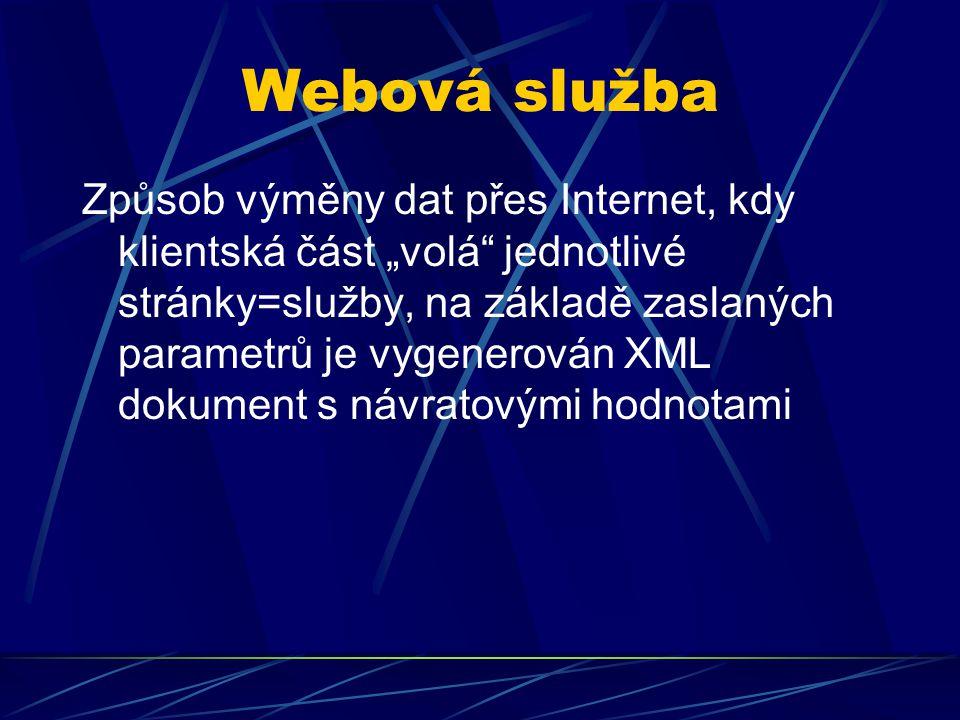 """Webová služba Způsob výměny dat přes Internet, kdy klientská část """"volá"""" jednotlivé stránky=služby, na základě zaslaných parametrů je vygenerován XML"""