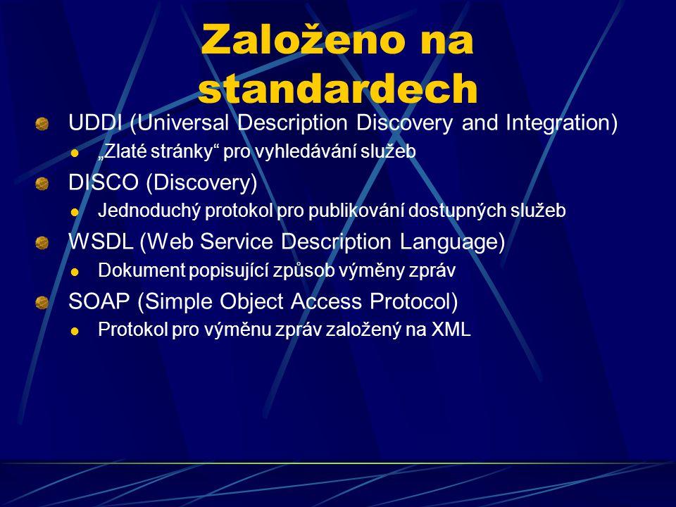 """Založeno na standardech UDDI (Universal Description Discovery and Integration) """"Zlaté stránky"""" pro vyhledávání služeb DISCO (Discovery) Jednoduchý pro"""