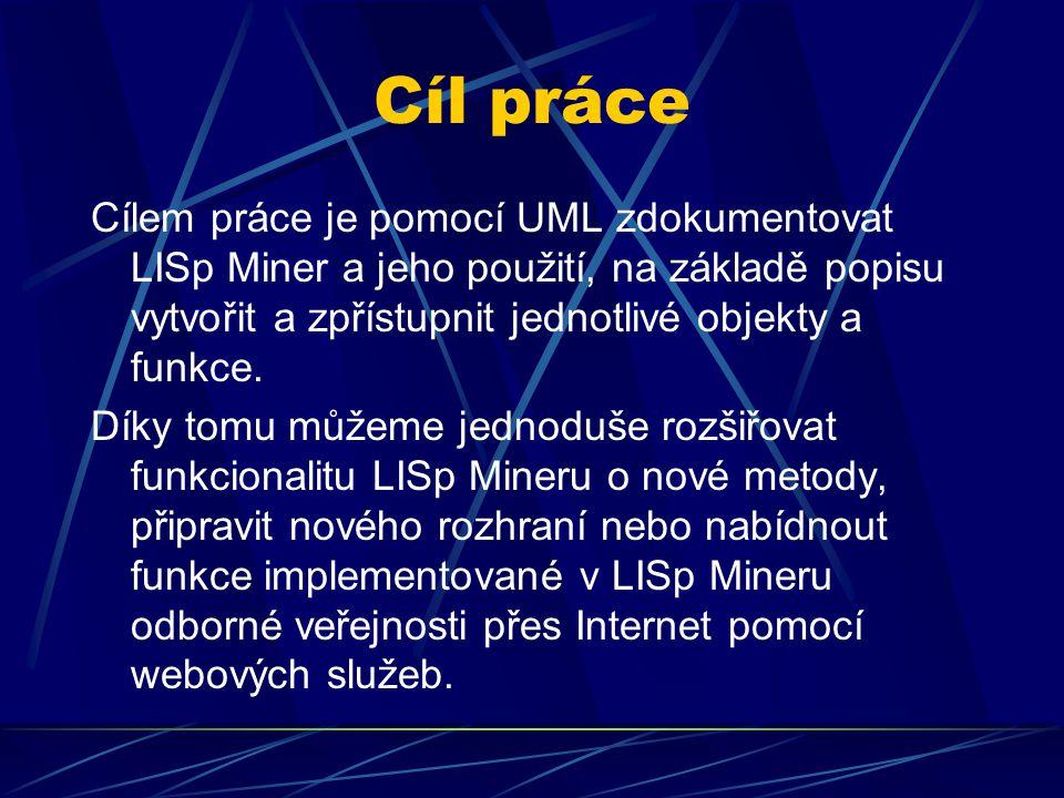 Cíl práce Cílem práce je pomocí UML zdokumentovat LISp Miner a jeho použití, na základě popisu vytvořit a zpřístupnit jednotlivé objekty a funkce. Dík