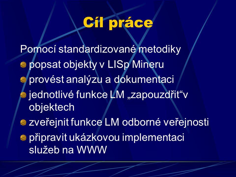"""Cíl práce Pomocí standardizované metodiky popsat objekty v LISp Mineru provést analýzu a dokumentaci jednotlivé funkce LM """"zapouzdřit""""v objektech zveř"""