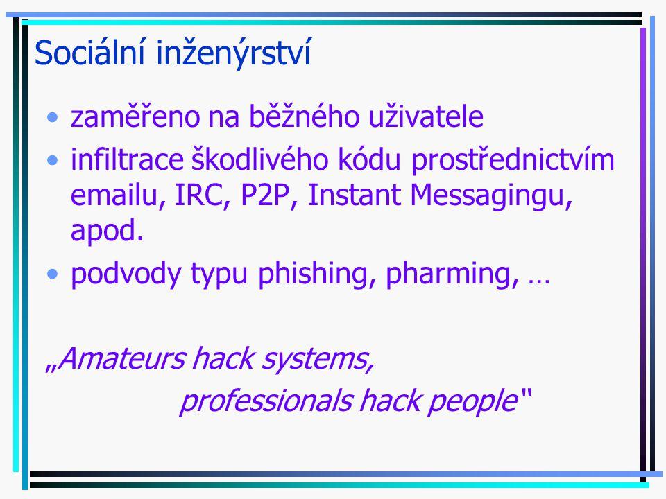 Sociální inženýrství zaměřeno na běžného uživatele infiltrace škodlivého kódu prostřednictvím emailu, IRC, P2P, Instant Messagingu, apod.