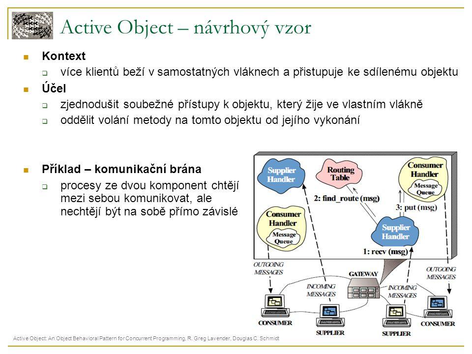 Active Object – návrhový vzor Kontext  více klientů beží v samostatných vláknech a přistupuje ke sdílenému objektu Účel  zjednodušit soubežné přístu
