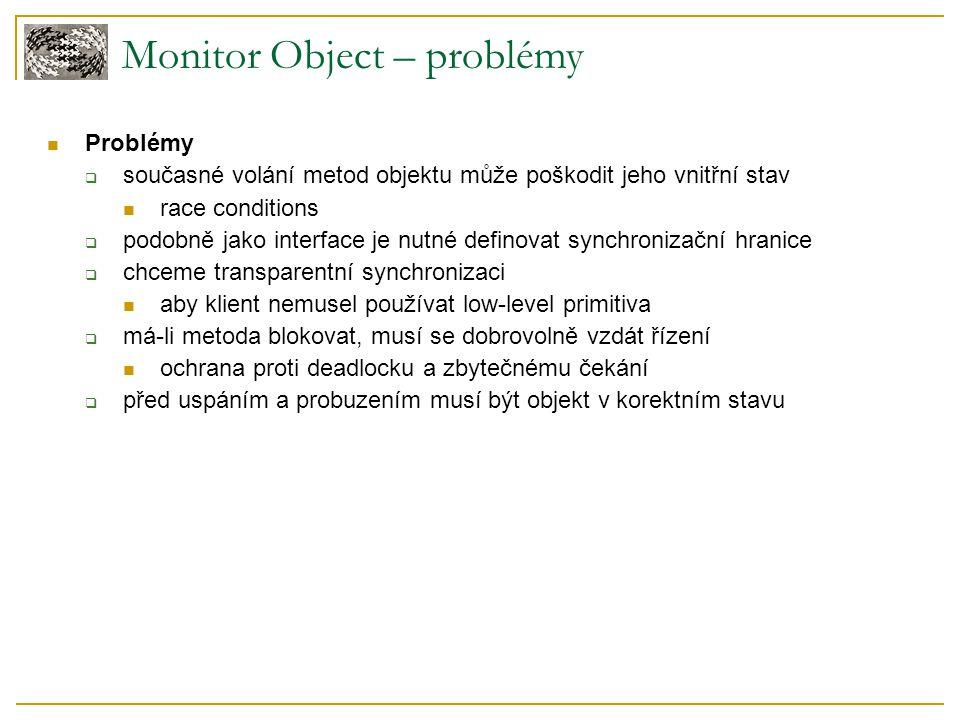 Monitor Object – problémy Problémy  současné volání metod objektu může poškodit jeho vnitřní stav race conditions  podobně jako interface je nutné d