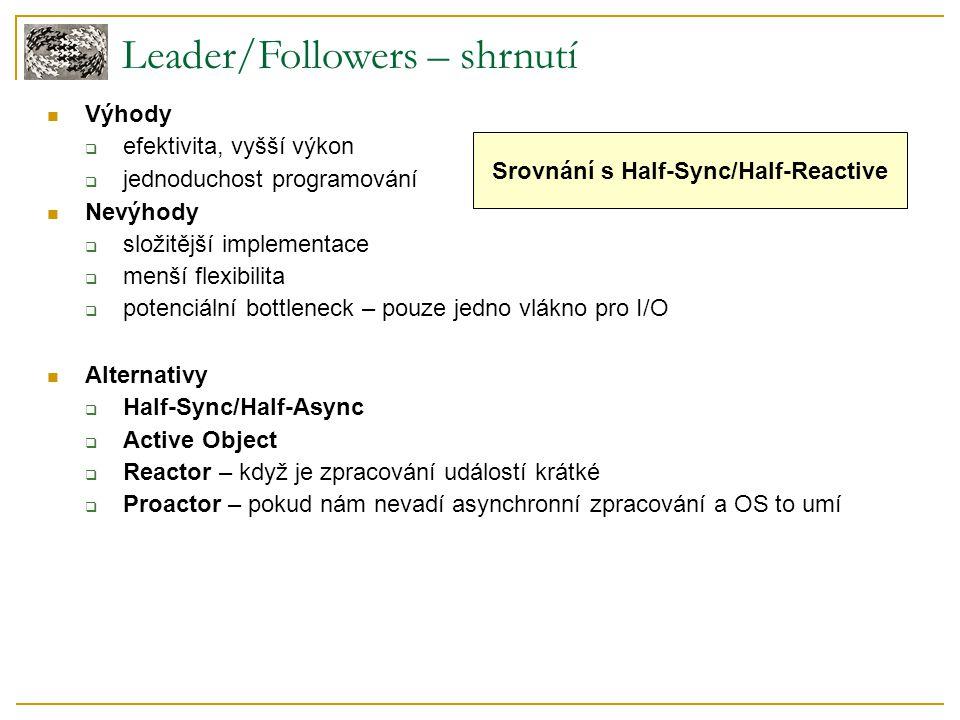 Leader/Followers – shrnutí Výhody  efektivita, vyšší výkon  jednoduchost programování Nevýhody  složitější implementace  menší flexibilita  poten