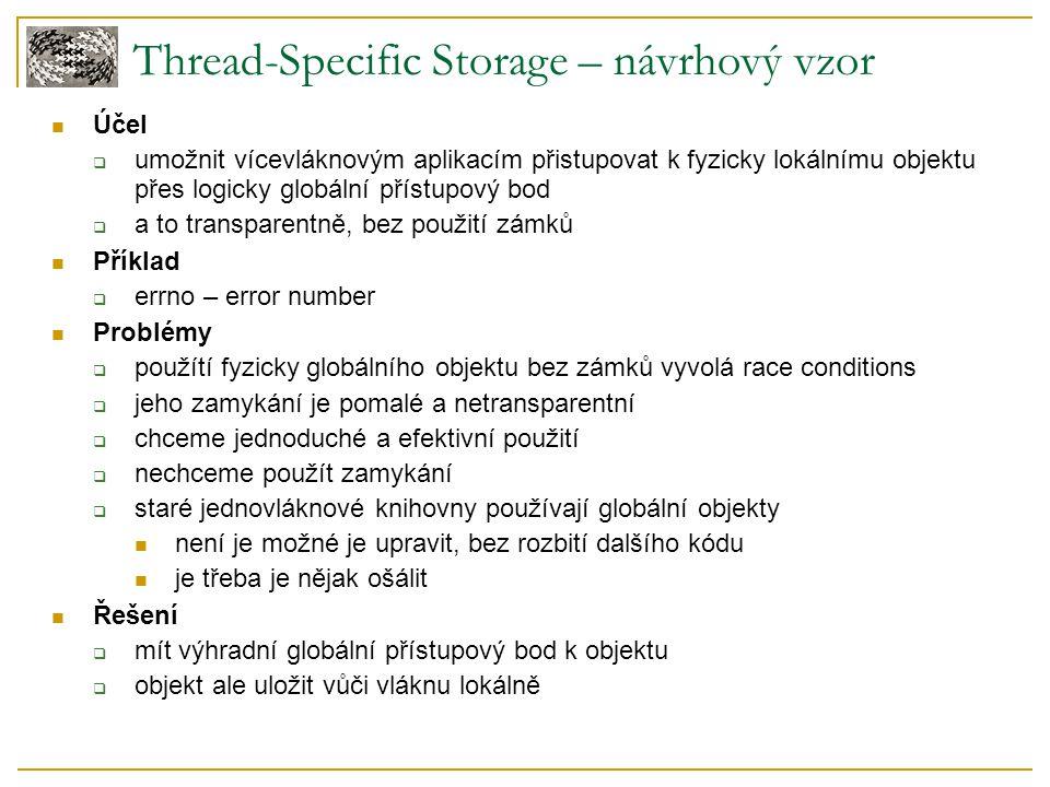 Thread-Specific Storage – návrhový vzor Účel  umožnit vícevláknovým aplikacím přistupovat k fyzicky lokálnímu objektu přes logicky globální přístupov