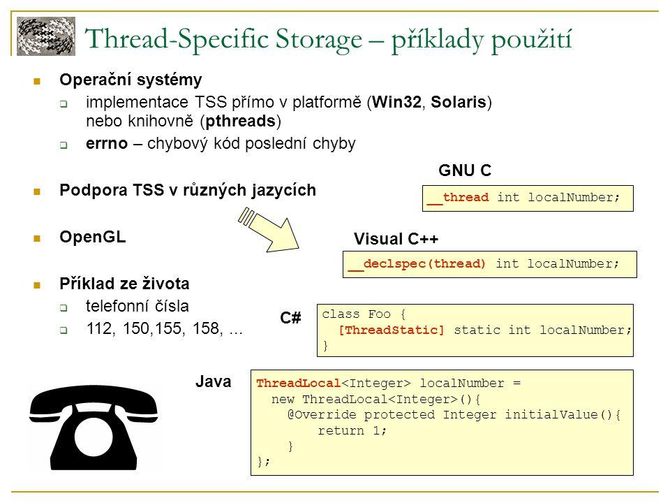 Java Thread-Specific Storage – příklady použití Operační systémy  implementace TSS přímo v platformě (Win32, Solaris) nebo knihovně (pthreads)  errn