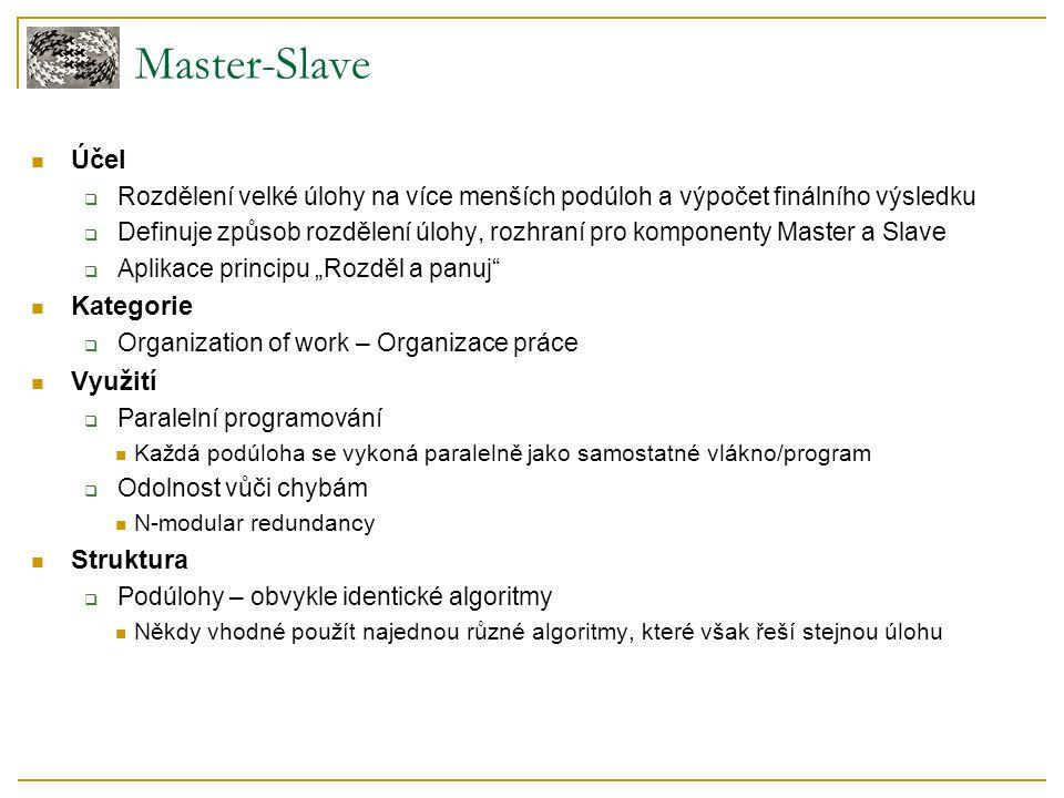 Master-Slave Účel  Rozdělení velké úlohy na více menších podúloh a výpočet finálního výsledku  Definuje způsob rozdělení úlohy, rozhraní pro kompone