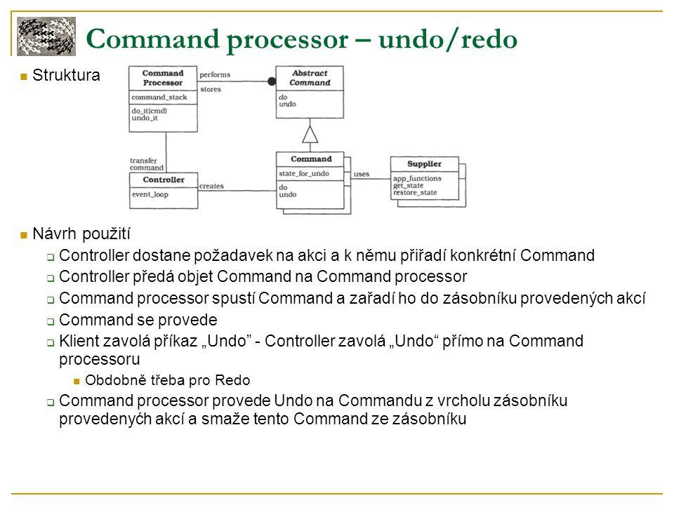 Struktura Návrh použití  Controller dostane požadavek na akci a k němu přiřadí konkrétní Command  Controller předá objet Command na Command processo