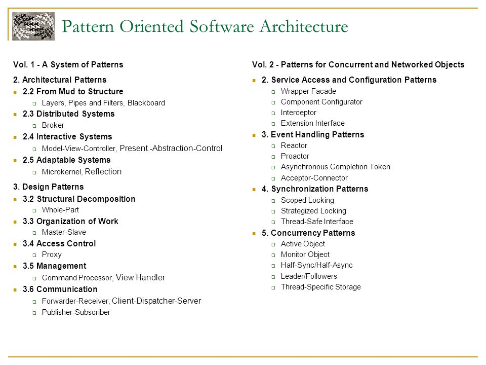 Vol. 1 - A System of Patterns 2. Architectural Patterns 2.2 From Mud to Structure  Layers, Pipes and Filters, Blackboard 2.3 Distributed Systems  Br