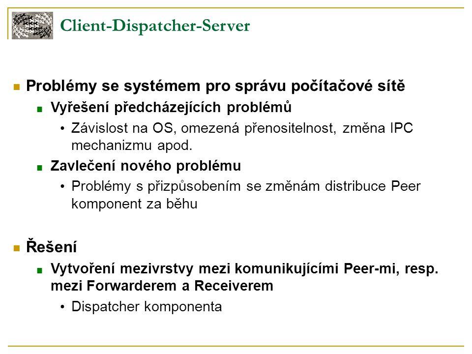 Client-Dispatcher-Server Problémy se systémem pro správu počítačové sítě ■ Vyřešení předcházejících problémů Závislost na OS, omezená přenositelnost,