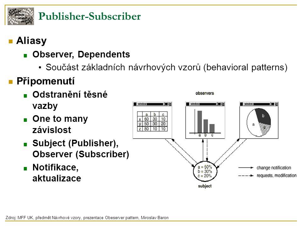 Publisher-Subscriber Aliasy ■ Observer, Dependents Součást základních návrhových vzorů (behavioral patterns) Připomenutí ■ Odstranění těsné vazby ■ On