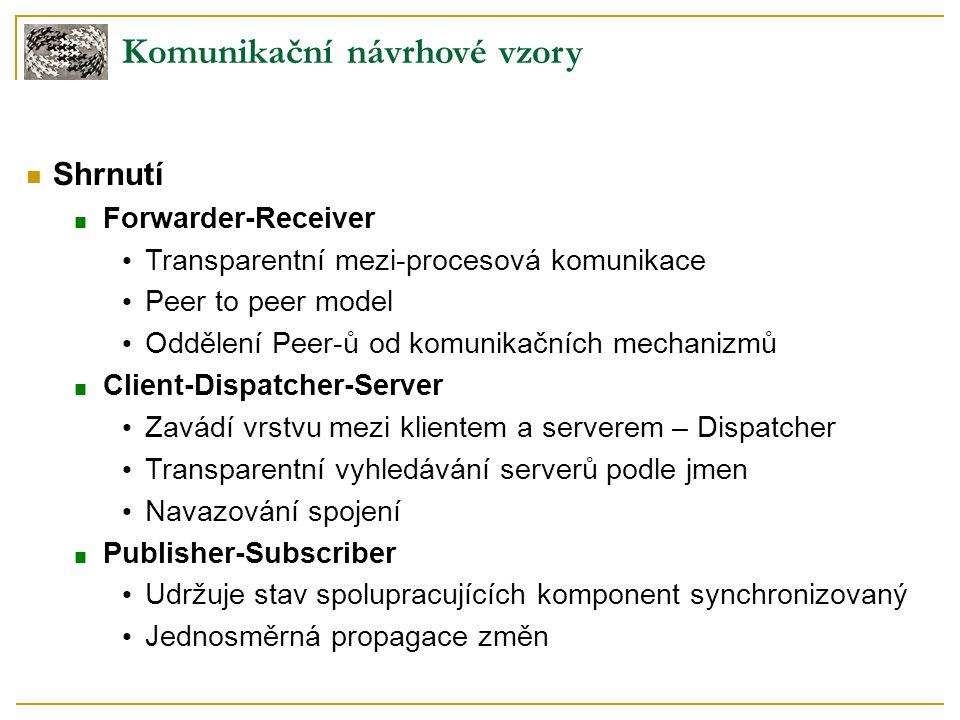 Komunikační návrhové vzory Shrnutí ■ Forwarder-Receiver Transparentní mezi-procesová komunikace Peer to peer model Oddělení Peer-ů od komunikačních me