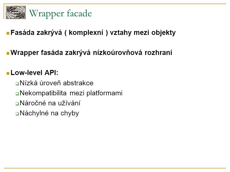 Wrapper facade Fasáda zakrývá ( komplexní ) vztahy mezi objekty Wrapper fasáda zakrývá nízkoúrovňová rozhraní Low-level API:  Nízká úroveň abstrakce