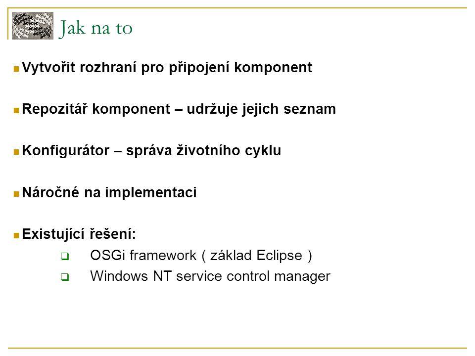 Jak na to Vytvořit rozhraní pro připojení komponent Repozitář komponent – udržuje jejich seznam Konfigurátor – správa životního cyklu Náročné na imple