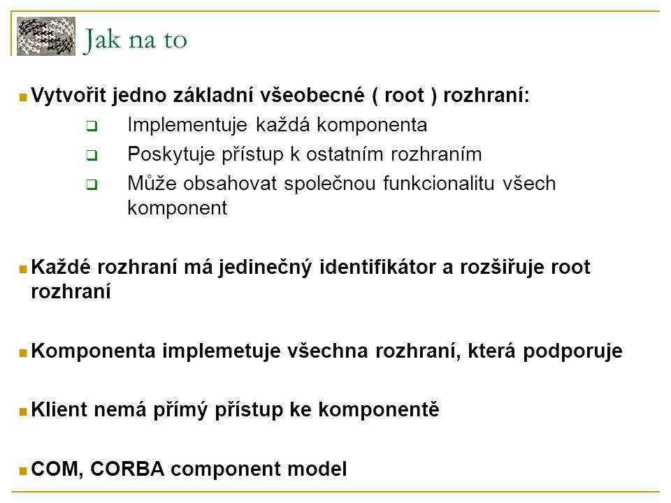 Jak na to Vytvořit jedno základní všeobecné ( root ) rozhraní:  Implementuje každá komponenta  Poskytuje přístup k ostatním rozhraním  Může obsahov