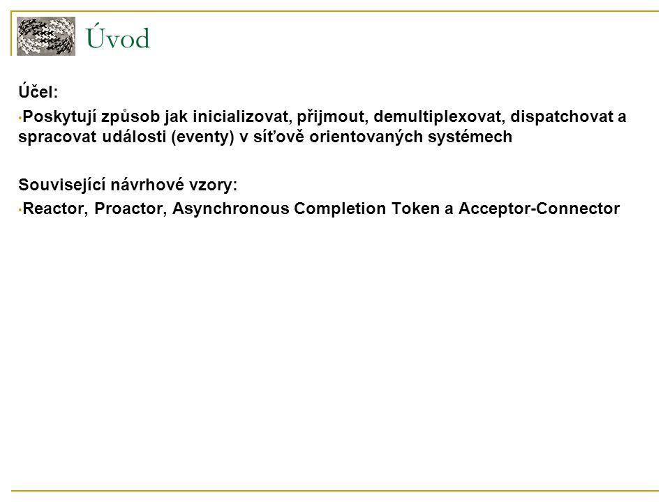 Úvod Účel: Poskytují způsob jak inicializovat, přijmout, demultiplexovat, dispatchovat a spracovat události (eventy) v síťově orientovaných systémech