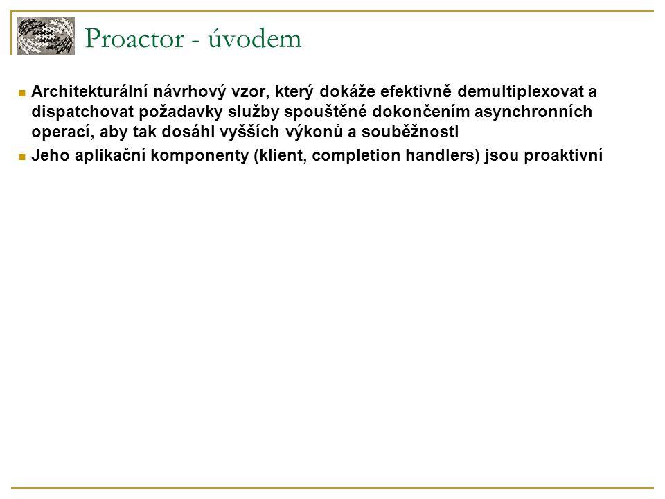 Proactor - úvodem Architekturální návrhový vzor, který dokáže efektivně demultiplexovat a dispatchovat požadavky služby spouštěné dokončením asynchron