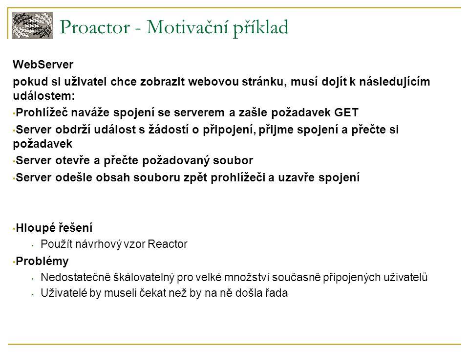 Proactor - Motivační příklad WebServer pokud si uživatel chce zobrazit webovou stránku, musí dojít k následujícím událostem: Prohlížeč naváže spojení