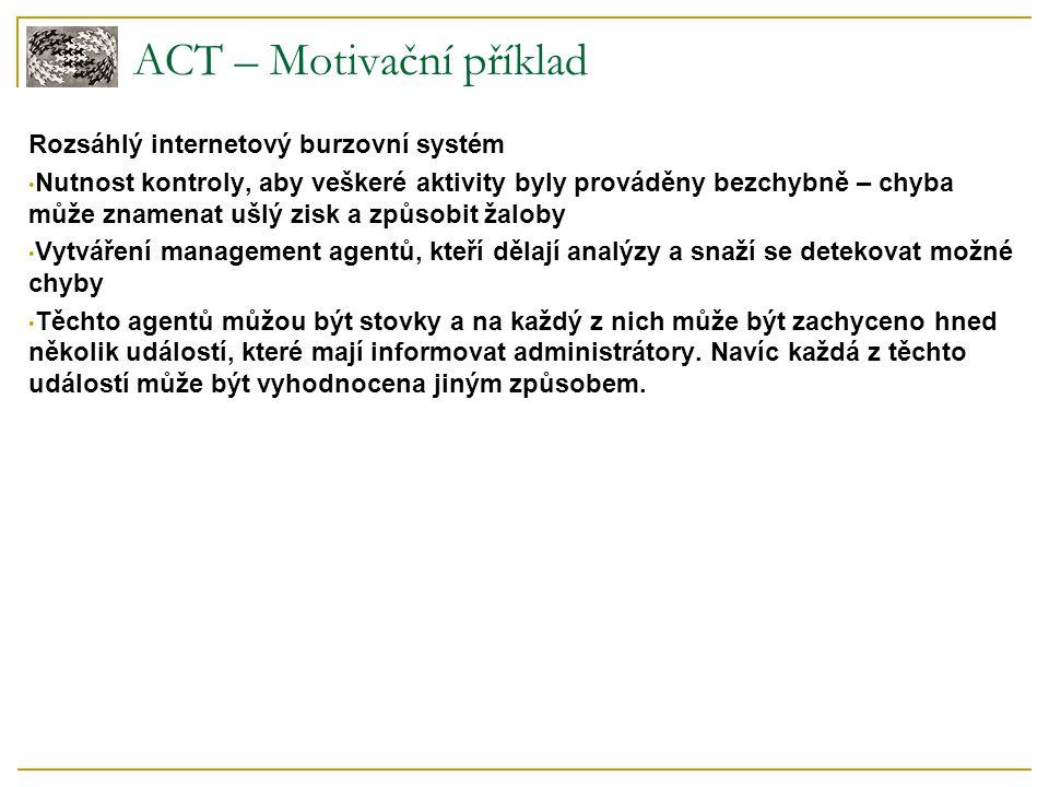 ACT – Motivační příklad Rozsáhlý internetový burzovní systém Nutnost kontroly, aby veškeré aktivity byly prováděny bezchybně – chyba může znamenat ušl