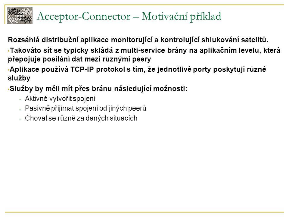 Acceptor-Connector – Motivační příklad Rozsáhlá distribuční aplikace monitorující a kontrolující shlukování satelitů. Takováto sít se typicky skládá z