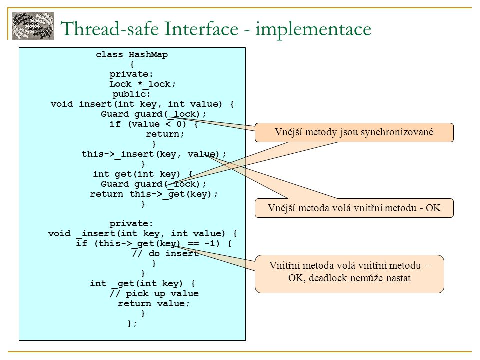 Thread-safe Interface - implementace class HashMap { private: Lock *_lock; public: void insert(int key, int value) { Guard guard(_lock); if (value < 0