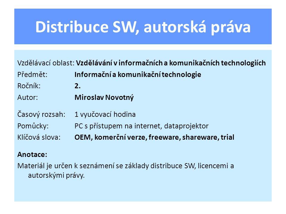 Distribuce SW, autorská práva Vzdělávací oblast: Vzdělávání v informačních a komunikačních technologiích Předmět:Informační a komunikační technologie Ročník:2.