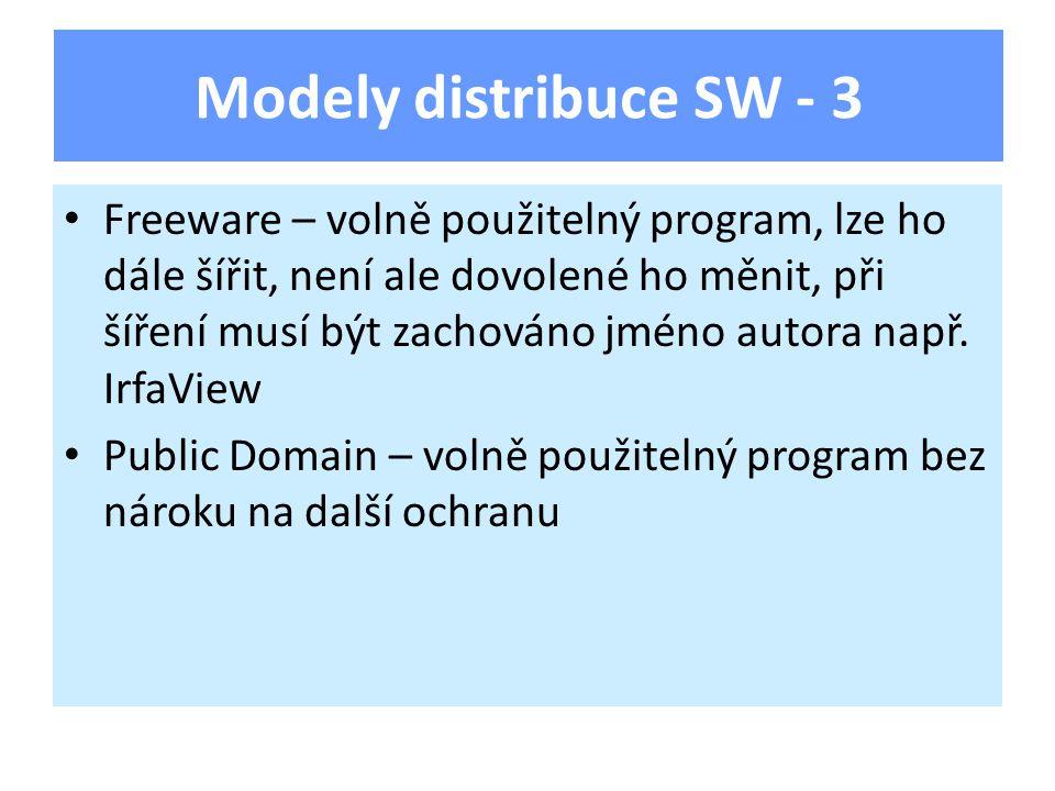 Freeware – volně použitelný program, lze ho dále šířit, není ale dovolené ho měnit, při šíření musí být zachováno jméno autora např.