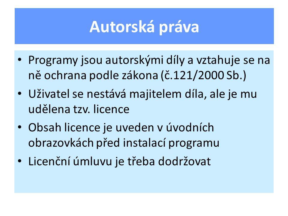 Programy jsou autorskými díly a vztahuje se na ně ochrana podle zákona (č.121/2000 Sb.) Uživatel se nestává majitelem díla, ale je mu udělena tzv.