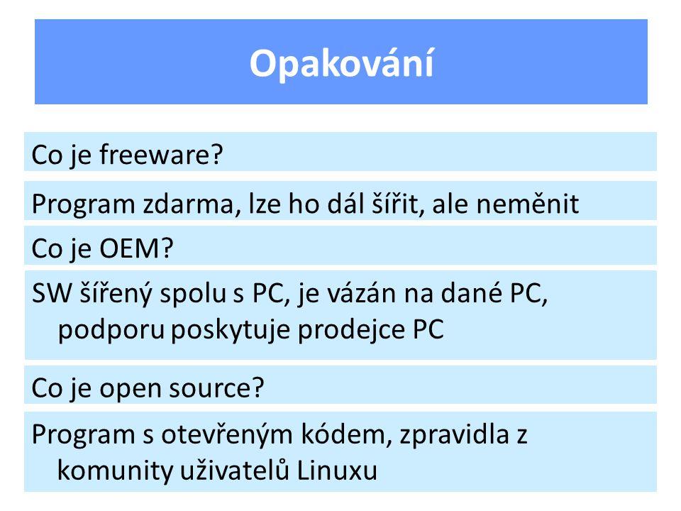 Opakování Co je freeware. Program zdarma, lze ho dál šířit, ale neměnit Co je OEM.