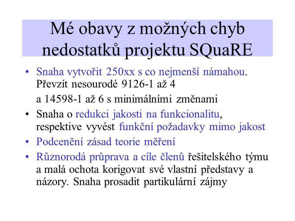 Mé obavy z možných chyb nedostatků projektu SQuaRE Snaha vytvořit 250xx s co nejmenší námahou. Převzít nesourodé 9126-1 až 4 a 14598-1 až 6 s minimáln